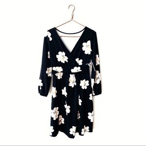 Old Navy   Maternity Black Floral Faux Wrap Dress